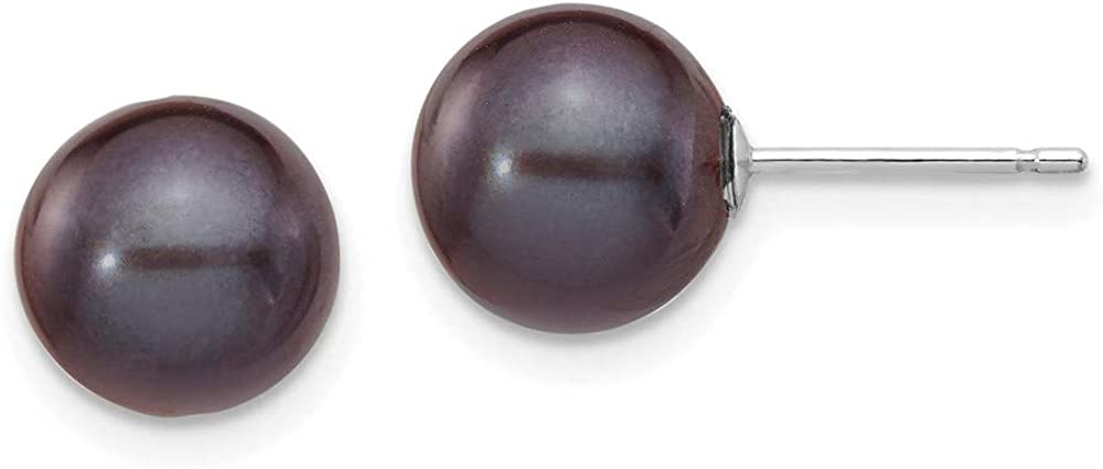 14k White Gold 9mm Black Round Freshwater Cultured Pearl Stud Post Earrings Ball Button Fine Jewelry For Women Gifts For Her