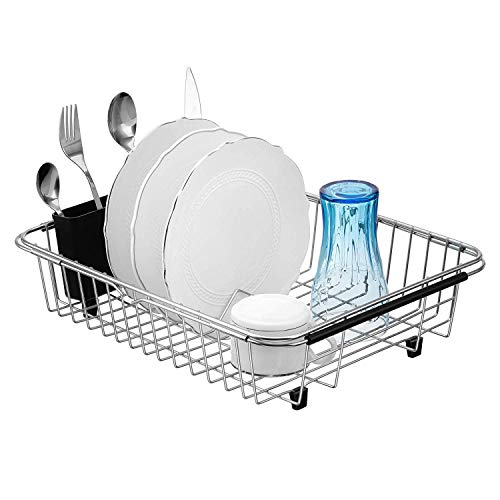 iPEGTOP Extendable Dish Drying Rack, Over The Sink in Sink Or On Counter Dish Drainer with Removable Utensil Holder, Rustproof Stainless Steel