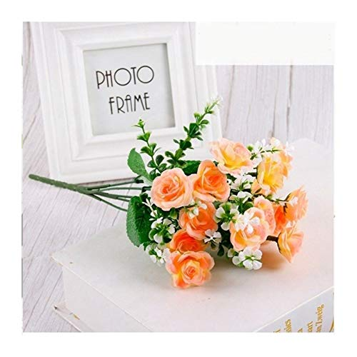 CQHUI 1PCS Artificial Flowers Real Touch Artificial Moth Orchid Butterfly Orchid For New House Home Wedding Festival Decoration (Color : Orange mini rose)