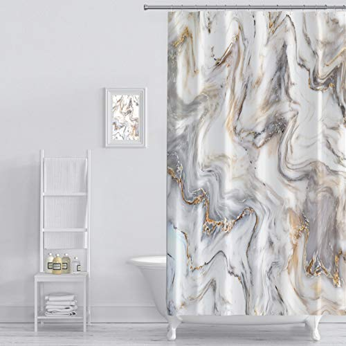 MuaToo Shower Curtain Marble Ink Texture Background Pattern Print Luxurious Graphic Print Polyester Fabric Bathroom Decor Sets with Hooks 72 x 84 Inches