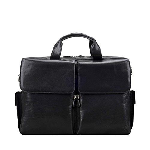 Maxwell Scott® Maletín negro de diseñador en cuero Italiano de lujo (Lagaro)