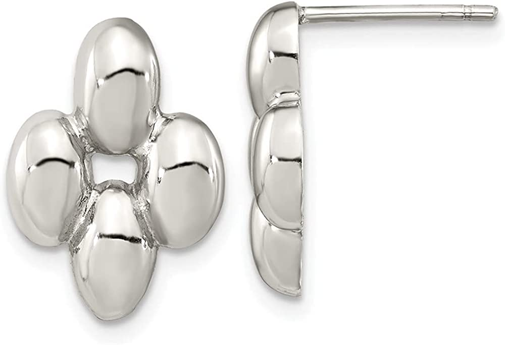 Sterling Silver Clearance SALE Max 49% OFF Limited time Polished Puffed Earrings Stud