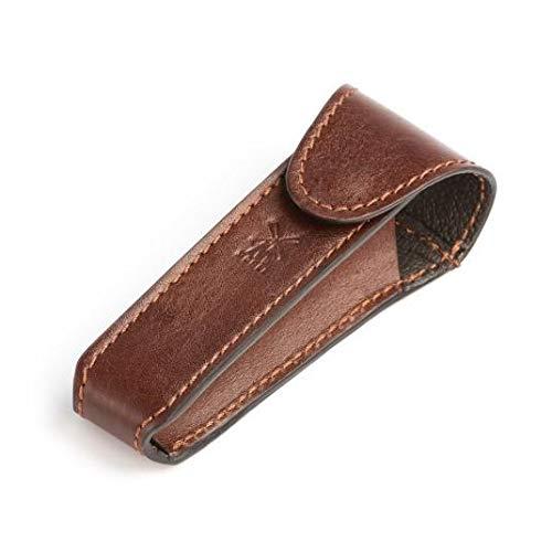 MÜHLE brunt läder säkerhetsrakhyvel resväska (RT7)