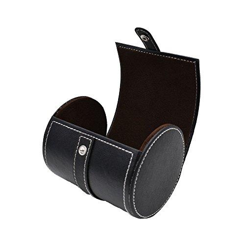 Sanqianwan forma cilindrica scatola portaoggetti in pelle PU viaggio cravatta case Black2