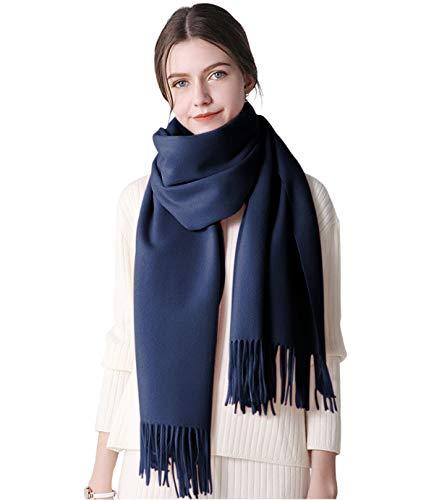 DEBAIJIA Bufanda acogedora Super suave Smooth Pashmina Cold Protection Stole Chal lana de cachemira para mujeres,extra grande 200x70cm Elegante elegante wrap Wass para todas las estaciones Azul marino
