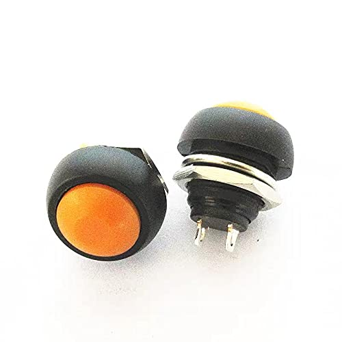 HUYANJUN HYJ-LABA, 5pcs PBS-33B 2pin Interruptor de Cuerno pequeño botón Redondo Interruptor Impermeable reinicio botón Interruptor 12 mm no Bloqueo Rojo Amarillo (Color : Orange)