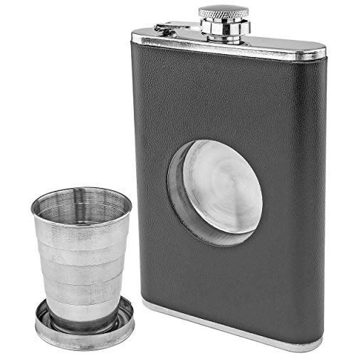 Fairly Odd Novelties Shot Flask - 8oz Hip Flask With Built In Collapsible Shot Glass.
