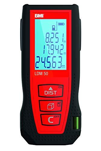 BMI Laser Entfernungsmesser LDM 50 (Reichweite 0,05 – 50 m, Gehäuse mit Gummikomponente, Laserklasse II, Messgenauigkeit 2,0 mm, Messgerät) 658050-LDM