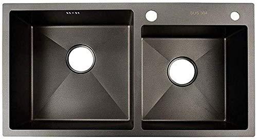 Küchenspüle Edelstahl mit Ablauf Filter Top Mounted Doppelspüle 0.4cm Dicke Edelstahl-Wanne (Größe: 75cm * 41cm), Größe: 78cm * 43cm LITING (Size : 750mm*410mm)
