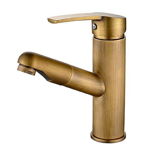 WYDM Grifo de baño Grifo Mezclador Extensible de Lavabo de latón Antiguo con Ducha de Mano extraíble Grifo Mezclador de una Sola Palanca para baño