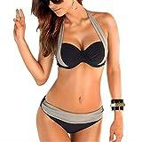 Damen Bikini Set Zweiteilige Badeanzug mit Push Up Crossover Bikinioberteil und Triangel Bikinihose Sexy Halter Bademode Bikini-Sets