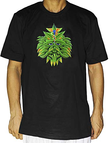 ImZauberwald Medizin Marihuana Spirit Shirt (UV Schwarzlicht aktiv - Rückseite mit Blume des Lebens) Marihuana T-Shirt Sativa Vaporizer Weed THC Hippie Tshirt