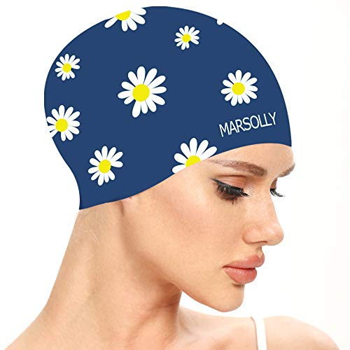 Marsolly Silicone Swim Cap for Women, Waterproof Long Hair Swimming Caps with Flower Printed