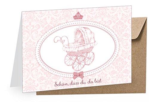 1 Grußkarte Glückwunschkarte Babykarte Klappgrußkarte zur Geburt Taufe + 1 Umschlag BRAUN/Kraftpapier •