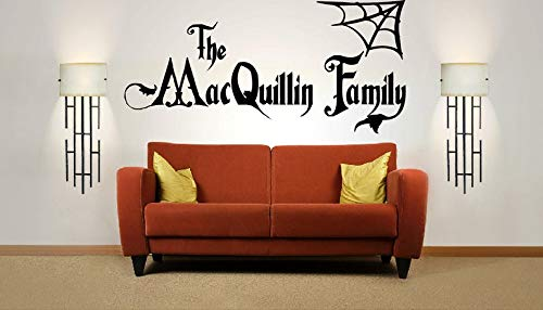 Halloween Decal Funny Sticker Fall Sticker Personalised Halloween Family Name, Addams Family, Vinyl Wall Art Sticker Decal Mural. Home, Wall Decor. Living Room, Hallway. 62 Inches