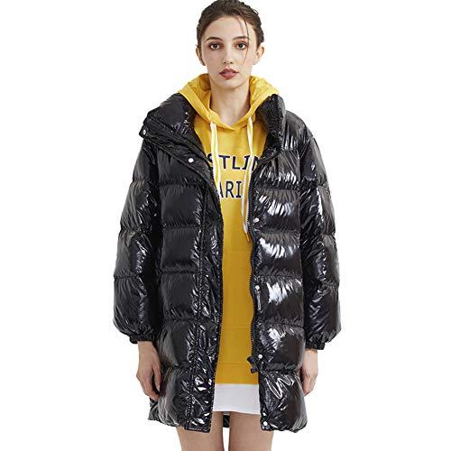 Biddtle Damen Wintermantel Mantel Steppmantel Daunenmantel Glänzend Winter Dicker Stehkragen Jacke Mit Elastische Bündchen,Schwarz,S