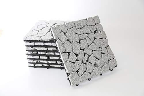 BodenMax Granit Mosaik Muster Mosaik Click Bodenfliesen Set 30 x 30 cm Terassenfliesen Terassenplatte Stein Fliese Klickfliesen Balkonfliesen Innenbereich Außenbereich grau (8 Stück) 0.72 qm