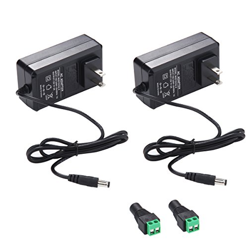 12V 2A Power Supply AC Adapter, AC 100-240V to DC 12 Volt Transformers, 2.1mm X 5.5mm Wall Plug (12 Volt - 2amp - 2pack)