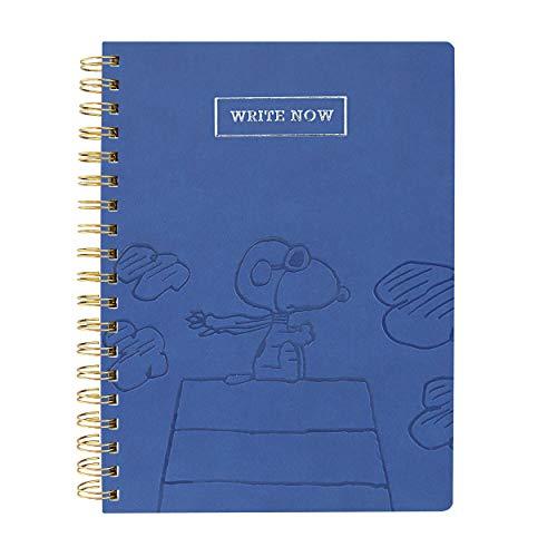 """Graphique Diário espiral de couro vegano, piloto Snoopy – 20,32 cm x 25,40 cm, 192 páginas pautadas, citação """"Write Now"""" enfeitada em folha de prata na capa – perfeita para tomar notas, listas e mais"""