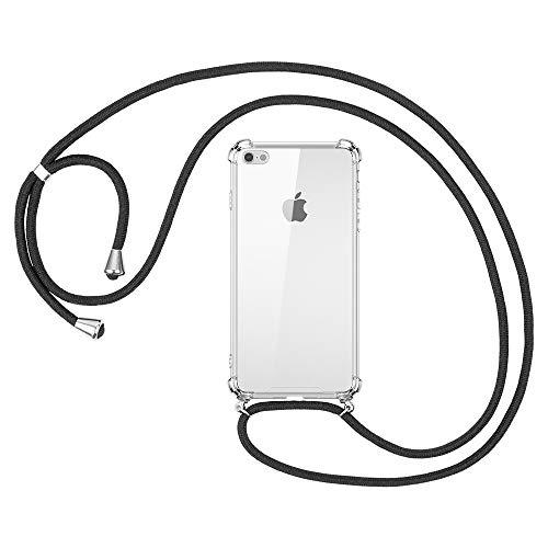 omitium Handykette Schutzhülle für iPhone SE (2020) /7/8, Hülle iPhone 8 Necklace Halskette Transparent Silikon Durchsichtige Handyhülle Schnur Kordel mit Cover iPhone 7 TPU Bumper Hülle iPhone 7