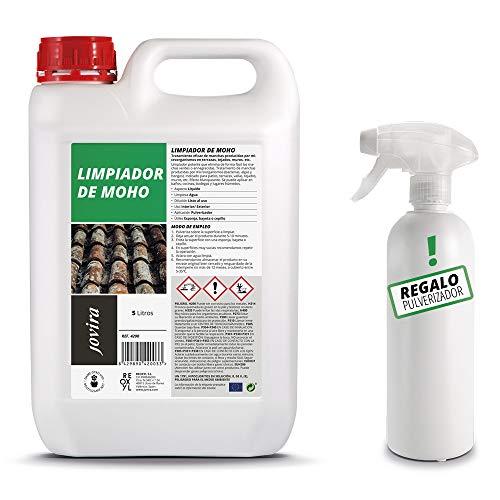 LIMPIADOR DE MOHO, Antimoho, eficaz para Manchas de microorganismos en terrazas, tejados, paredes, jardín, azulejos, bañeras, cocinas. (5 L)