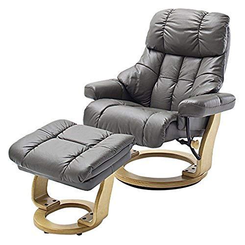 Robas Lund Sessel Leder Relaxsessel TV Sessel mit Hocker bis 180 Kg, Fernsehsessel Echtleder schlammton, Calgary XXL