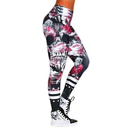 Evansamp Leggings für Frauen, Yoga-Hose, modischer Totenkopf-Druck, schmal, hohe Taille, Yoga-Leggings Hose (D,XXXL)