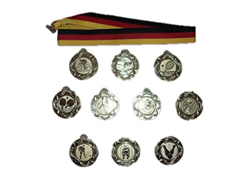 10 Kegeln-Medaillen mit Bändern und 3 Kegler-Anstecknadeln.