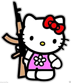Hello Kitty with AK-47 Bumper Sticker Toolbox Sticker