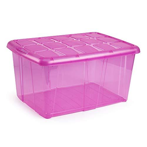 PLASTIC FORTE, Caja de almacenamiento, VIOLETA TRANSLUCIDO, 60 litros, sin ruedas