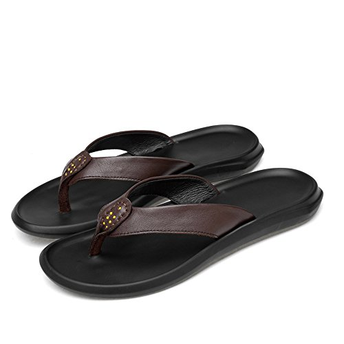 Lpinvin - Chancletas para hombre, sandalias de playa, transpirables, casuales, resistentes al desgaste, antideslizantes, cómodas, color marrón, tamaño: 43