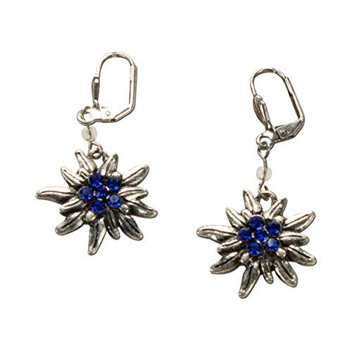 Alpenflüstern Trachten-Ohrhänger Strass-Edelweiß - Damen-Trachtenschmuck, Trachten-Ohrringe antik-silber-farben mit Strass-Steinen blau DOR008