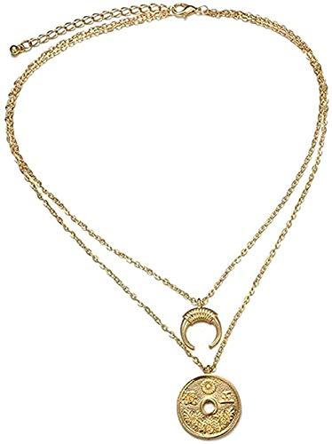 Collar Collar Personalidad Collares Antiguos Patrón Luna Vintage Collar de Doble Capa Gargantilla Regalo de Fiesta