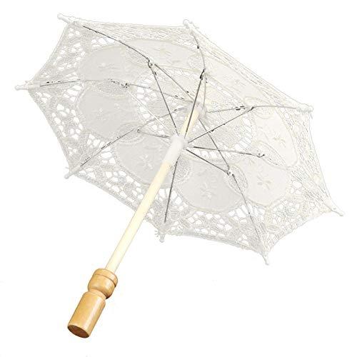 Uxsiya Exquisito mango de madera de encaje Material paraguas de encaje suave suministros para el hogar para bodas celebraciones para decorar el hogar (Beige pequeño, azul)