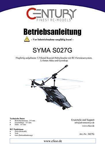 efaso Bedienungsanleitungen für Syma RC Modelle (Syma 027G)