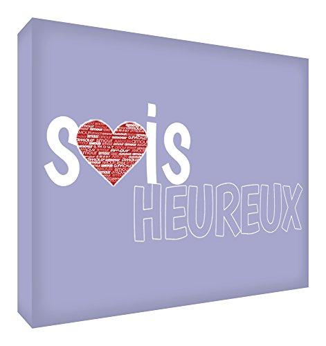 Feel Good Art Sois Heureux Bloc Décoratif en Acrylique Transparent Poli comme Diamant Lilas 10,5 x 7,4 x 2 cm