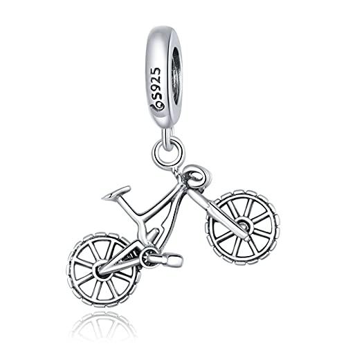 ZiFouDou Bead Charms for Pandora Bracelet 925 Sterling Silver Charm- Mountain Bike