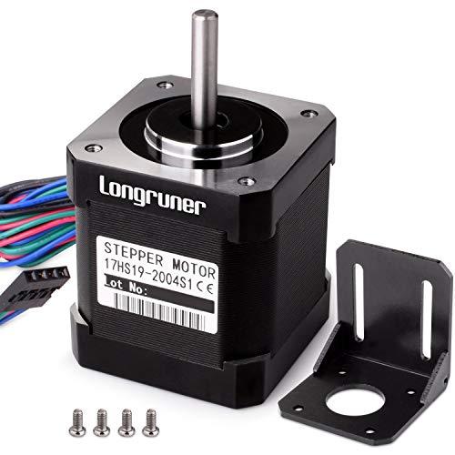 Longruner Nema 17 motore passo-passo bipolare 48 mm 84oz. in (59NCM) 2 a 4 cavo con 1 m di cavo e connettore per stampante 3D hobby CNC + 1 viti di montaggio + 4pcs 36 mm m3 LQD04