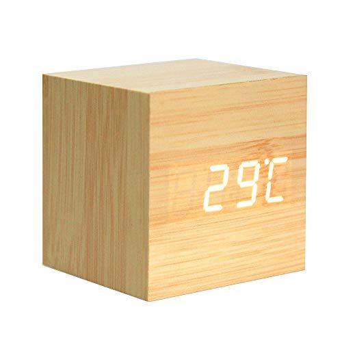 Lancoon Reloj Despertador De Madera - Reloj Digital Cubo con Pantalla De Hora/Fecha/Temperatura, Brillo De 3 Niveles Y Control De Voz Ideal para Viajes A La Oficina En El Hogar - AC10Yellow_White