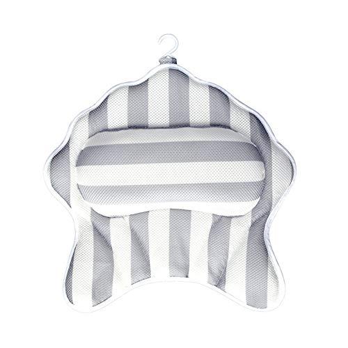 Baignoire Oreiller imperméable à l'eau Luxueux Tapis De Bain Antidérapant Rembourrage en Mousse Extra-épaisse Et Un Oreiller De Bain Doux Haut Baignoire Oreiller (Color : Gray)