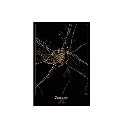 TheHua 5D Bricolaje Cruz Puntada Cristal Bordado Diamantes Pintura Kit Mapa De Líneas Negras Y Amarillas Taladro Completo Abstracto Mosaico De La Ciudad De Zaragoza Decoración del Hogar-50X60cm
