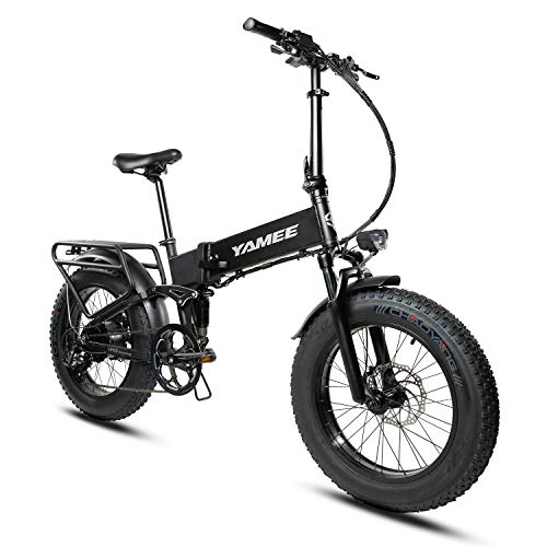 YAMEE 48V 500W/750W Electric Bike for Adults Fat Tire Folding Bike Ebikes 11.6AH/14.5AH Samsung Lithium Battery 20inch 4.0 All Terrain Off-Road Fat Tires for Snow Mountain Bikes (500W-BLACK)
