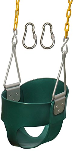 Jungle Gym Kingdom High Back Full Bucket Toddler Swing Seat Heavy Duty Chain - Swing Set Accessories - Green with Locking Snap Hooks