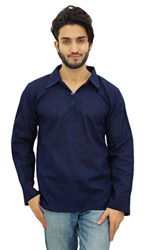Atasi Indian Cotton Neck Kurta volle Hülsen Blue Collar ethnischen Mann-Hemd-Large