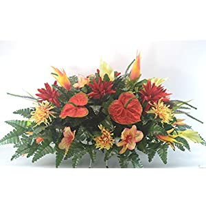 R46 Lily and Mum Cemetery Flower Arrangement, Headstone Saddle, Grave, Tombstone Arrangement, Cemetery Flowers