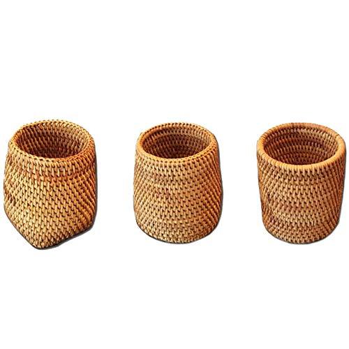 Asigo Palillos de ratán Tubo Pala Cuchara Cubo Mesa Cubiertos Caja de Almacenamiento Canasta de Almacenamiento doméstico artículos para el hogar fácil de Usar y almacenar
