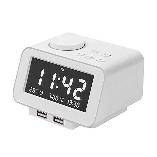 MingXinJia Relojes de Cabecera para el Hogar Despertador Digital, Radio Despertadores Reloj de Cabecera con Repetición, Alarma Doble, 2 Puertos de Carga Usb Y Pantalla de Día de la SemanaBlanco