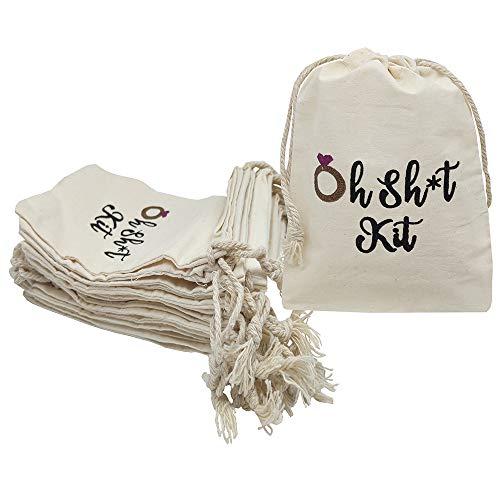 Sanrich 20pcs Bachelorette Party Drawstring Pouch Bags 4x6 inch Hangover Kit Bags Bridesmaid Survival Kit 'Oh Sht Kit Bag
