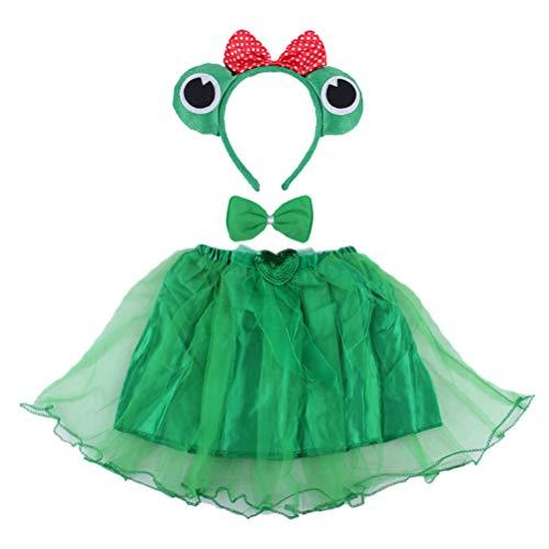 BESTOYARD Disfraz infantil de rana, 3 piezas, disfraz de animal, orejas, diadema, tut, conjunto de ngulo, para nias, disfraz de cosplay (verde)