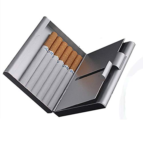 ToBeIT Etui Zigaretten Metall Zigarettenbox - Aluminium Zigarettenetui für 20 Zigaretten oder nur 18 Zigaretten(Silber)